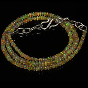 26 Carats Natural Ethiopian Welo Fire Opal Rondelle Beads Necklace