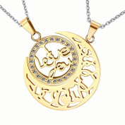 Sun And Moon Cubic Zirconia Pendants Men Women Gold Necklaces Stainless Steel Lovers Pendants I Love You Jewellery Valentine's day gifts A birthday present