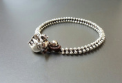 Handmade Anklet Brown Wax Cord Silver Bead Elephant Anklet
