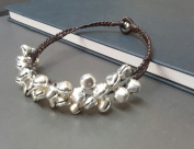 Handmade Anklet Brown Wax Cord Braid Silver Bell