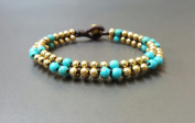Alternate Colour Turquoise Brass Bead Bracelet
