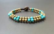 Alternate Colour Turquoise Brass Bead Bracelet