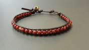 Red Jasper Brown Leather Bracelet