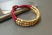 Red Cube Brass Bracelet