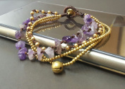 Chip Amethyst Brass Chain Bracelet