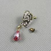 2 Pieces Earrings Ear Earring Supplies Hooks Stud Cuff Clip Punk XF210B Right Side Butterfly