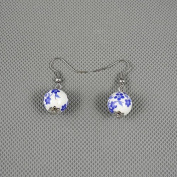 1 Pairs Earrings Ear Earring Supplies Hooks Stud Cuff Clip Punk XJ0486 Porcelain Ball