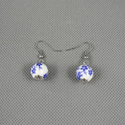 1 Pairs Earrings Ear Earring Supplies Hooks Stud Cuff Clip Punk XJ0486 Porcelain Ball