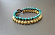 Jingling Bohemian Brass Bell Turquoise Bracelet