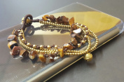 Chip Tiger Eye Brass Chain Bracelet