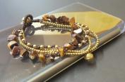 Chip Tiger Eye Brass Chain Bracelet