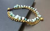 Amazonite Brass Chain Anklet