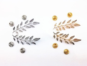 Yueton® 2 Pairs Metal Golden and Silver Leaves Brooch Suit Shirt Collar Decoration Parts