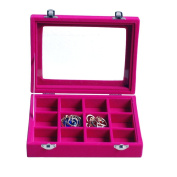 Novadeal PU Velour Leather Multipurpose 12 Grids Jewellery Display Box Ring/Earrings/Necklace Tray Storage Case Organiser - Hot Pink