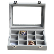 Novadeal PU Velour Leather Multipurpose 12 Grids Jewellery Display Box Ring/Earrings/Necklace Tray Storage Case Organiser - Grey