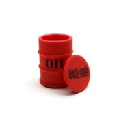 HIGH TECH SILICONE JAR OIL DRUM SKY HIGH 3.8cm DIAMETER 5.1cm HEIGHT RED with Free BakeBros Silicone Container and Sticker