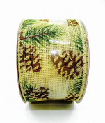 Jo-ann's Holiday Pine Cones Ribbon,glitter,wire Edge