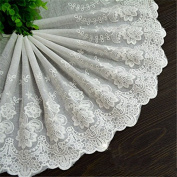 Ecru 3 Yards Flower Embroidered Cotton Lace Dress Lace Craft Lace Weaven Lace 22cm Wide