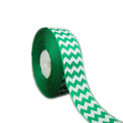 50yd 2.5cm - 1.3cm White Chevron Pattern Printed Grosgrain Ribbon for Hairbow