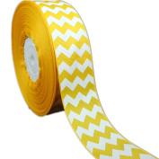 50yd 2.5cm - 1.3cm White Chevron Pattern Printed Grosgrain Ribbon for Hairbow