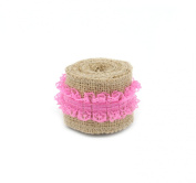 Junxia 2 Yards Natural Burlap Ribbon with Pure Lace in the Middle for Holiday Decoration