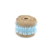 Natural Hession Burlap Ribbon with Pure Lace in the Middle for Holiday Decoration