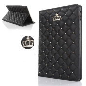 Superstart Luxury Crown Pattern Bling Diamond Leather Smart Protective Stand Case Cover for iPad 5 Air-Black
