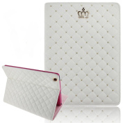 Superstart Luxury Crown Pattern Bling Diamond Leather Smart Protective Stand Case Cover for iPad 2/3/4-White
