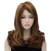 Amybria Women Medium Wavy Wigs Full Lace Wigs Party Daily Costume Free Cap Brown B