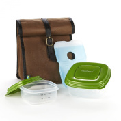 Fit & Fresh Men's Classic Lunch Bag Kit with Sandwich and Side Reusable Containers, Dark Brown