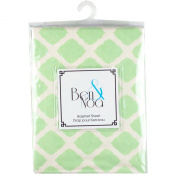 Ben & Noa Fitted Bassinet Sheet Flannel, Green Lattice