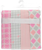 Cribmates 4-Pack Flannel Receiving Blankets - pink, one size