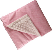 Iddy Kiddy Minky Dot Seersucker Backed Baby Blanket. B1003 Pink