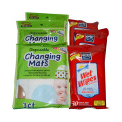 Baby Care Clean-up Travel on the Go Bundle - Wet Wipes and Disposable Changing Mats