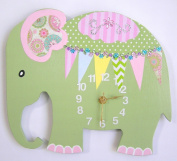 HH Baby Boutique Elephant Wall Clock, Nursery Elephant Wall Clock, Nursery Clock, Kid's Room Wall Clock