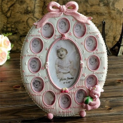 AUCH 1Pcs Cute & Lovely & New Resin Baby's First Year 12 Month Collage Picture Rack 13 Opening Desktop Photo Frame with Bowknot Decoration for Baby Girls, Pink
