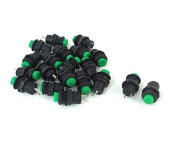 Baomain 10 Pcs Thread Green Cap SPST Momentary Type Push Button Switch OFF-ON