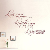 Inspirational Family Wall Decal Bedroom Nursery Wall Quotes Sticker Removable Vinyl Love Wall Quotes Decor Art Live Every Moment Laugh Every Day Love Beyond Words