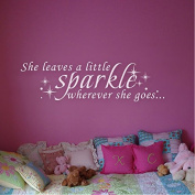 GECKOO Nursery Decal- She Leaves A Little Sparkle Wherever She Goes- Children Kids Nursery Room Decal Wall Sticker