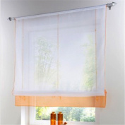 ZARABE Kitchen Balcony Voile Roman Blinds Liftable Curtain Orange,140x155cm