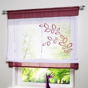 ZARABE Lifting Rome Window Room Curtain Screens Embroidered Leaves Purple,80*100cm