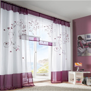 ZARABE Purple pastoral embroidery bedroom curtain living room screens,140x225cm