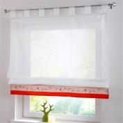 ZARABE Red Terri Wong embroidery curtain bamboo cloth stitching yarn lift Roman screen