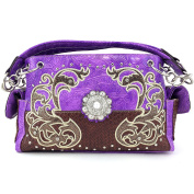 Justin West Western Tooled Rhinestone Concho Flower Embroidery Chain Shoulder Handbag Purse with Concealed Carry and Phone Slot Purple