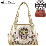 MW255G-8036 Montana West Sugar Skull Collection Concealed Carry Handbag Beige