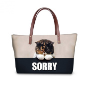 FOR U DESIGNS Fashion Water Resistant Women's Large Capacity Funny Animal Shoulder Bags Tote Bags