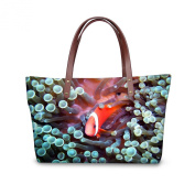 FOR U DESIGNS 38cm Undersea Word Clown Fish Print Women's Tote Messenger Bags Purse