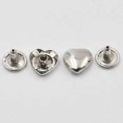 100 Pcs Metal Heart Love Rapid Rivets Studs for Leather Craft Bag Handbag Shoes Clothes