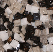 Hakatai Glass Mosaic Tile 1cm - ½ Pound Black-White-Grey Blend Assortment