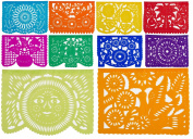 CalMex Large Papel Picado Folkloric Colours Banner TISSUE (10 Panels - 4.9m Long) Designs as Pictured